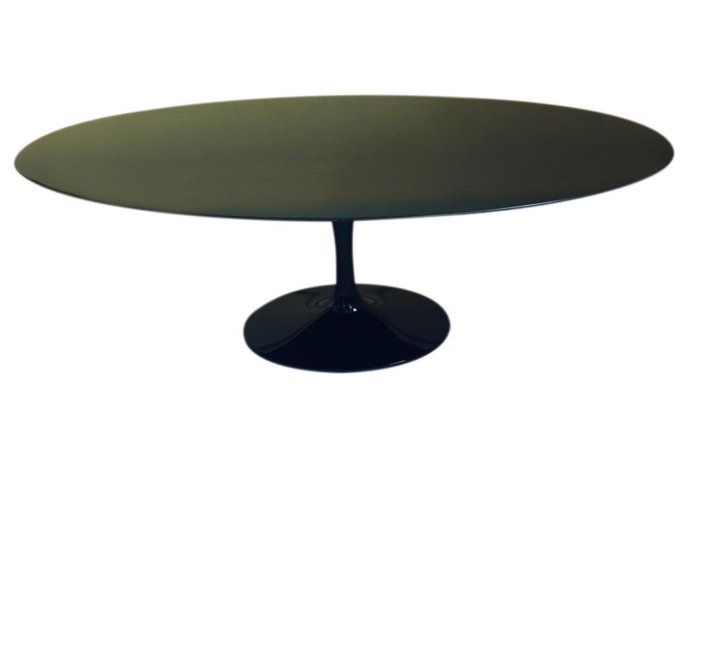 Tavolo Tulipano Con Piano Granito Nero Assoluto Ovale Da Cm 199x121 O 244x137
