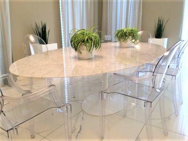 Tavolo In Marmo Design.Tavolo Tulipano Con Piano Marmo Carrara