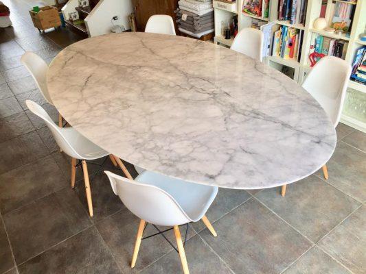 Tavolo Tulipano Con Piano Marmo Carrara Instant Design