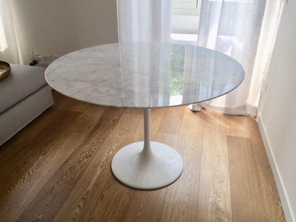 Tavolo Tondo Marmo.Tavolo Tulipano Con Piano Marmo Carrara