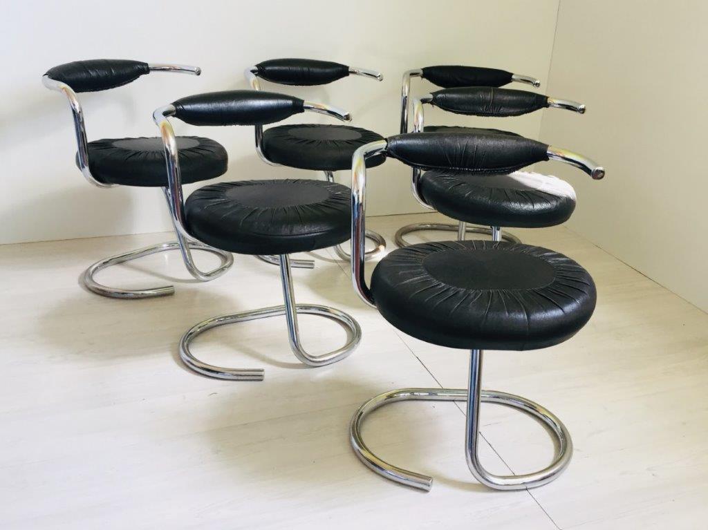Set di 6 sedie vintage Cobra di Giotto Stoppino in pelle nera